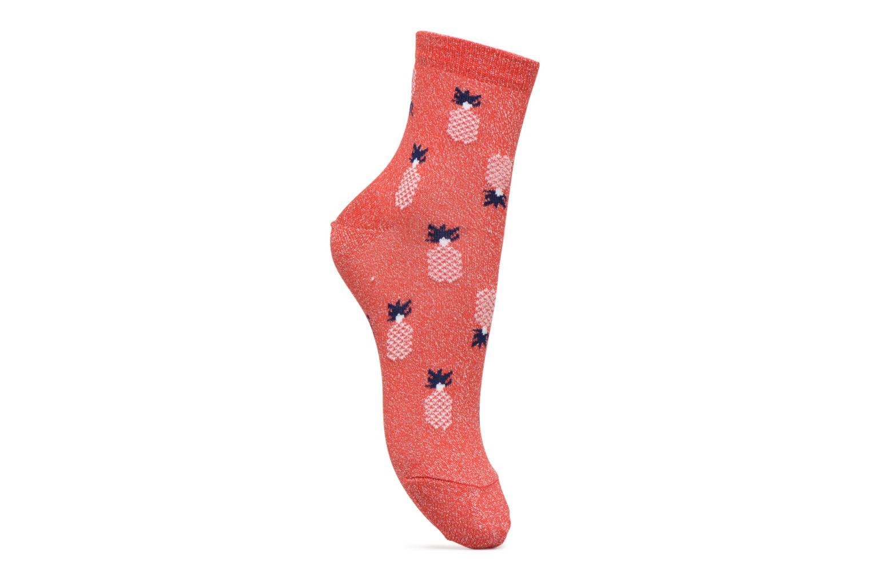 Chaussettes et collants Sarenza Wear Chaussette Femme lurex ananas Rouge  vue détail paire 85e33a57ad78