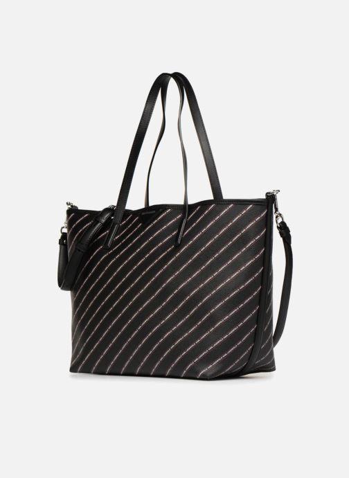 Borse KARL LAGERFELD K Stripe Logo Shopper Nero modello indossato