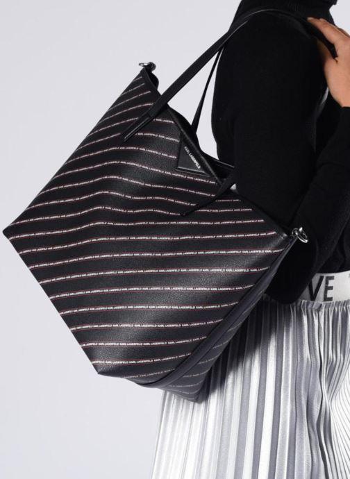 Sacs à main KARL LAGERFELD K Stripe Logo Shopper Noir vue bas / vue portée sac