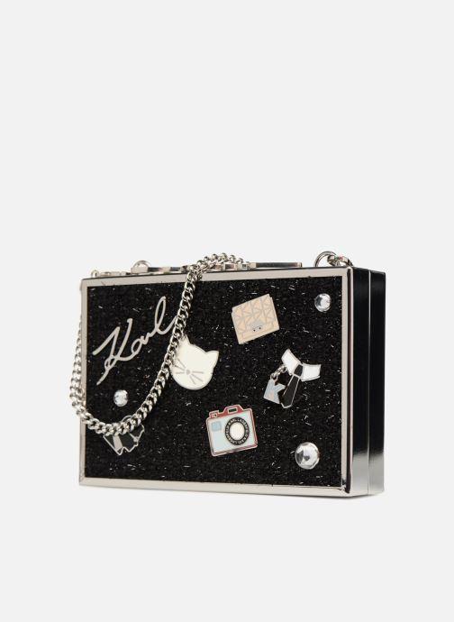 Handtaschen KARL LAGERFELD K Pins Tweed Minaudière schwarz schuhe getragen