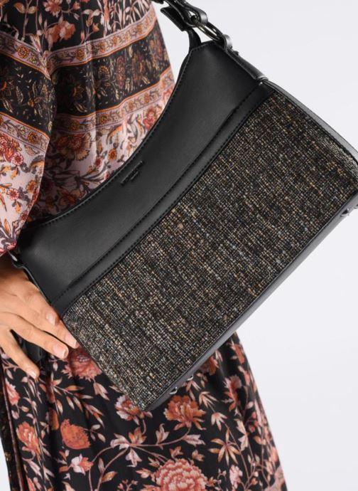Sacs à main Hexagona TWEEDY PORTE EPAULE Noir vue bas / vue portée sac