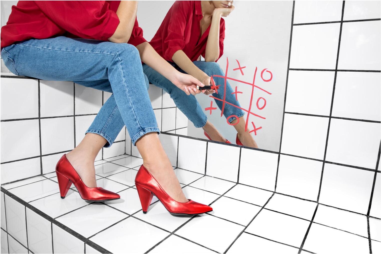 Escarpins Made by SARENZA 80's Disco Girl Escarpins #3 Rouge vue bas / vue portée sac