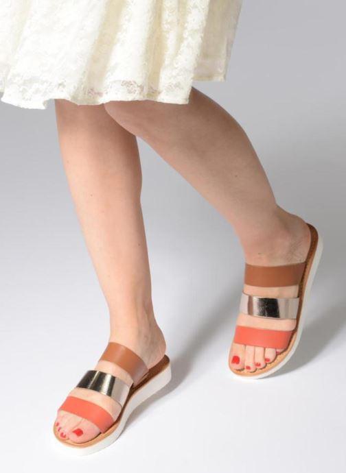 Zuecos Vero Moda Way Leather Sandal Marrón vista de abajo