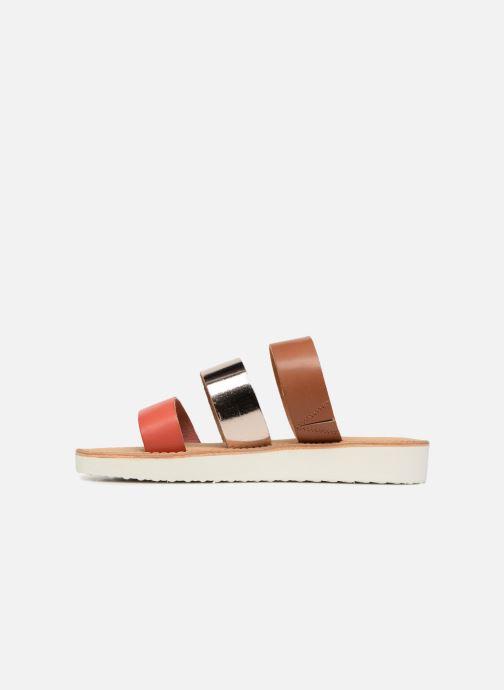 Zuecos Vero Moda Way Leather Sandal Marrón vista de frente