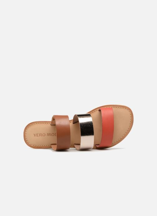 Zuecos Vero Moda Way Leather Sandal Marrón vista lateral izquierda