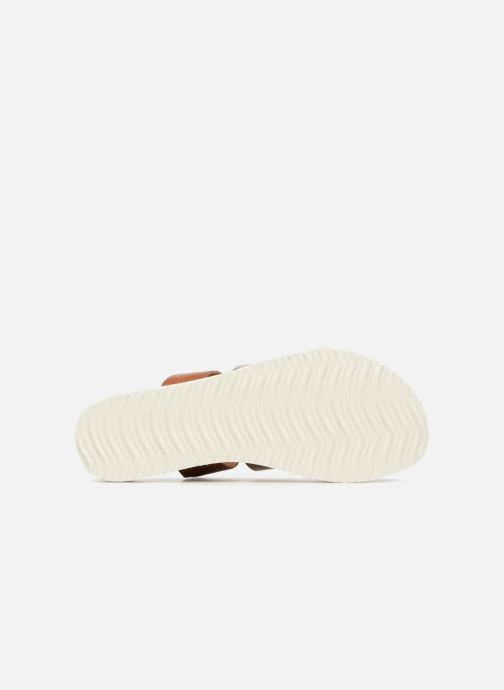 Zuecos Vero Moda Way Leather Sandal Marrón vista de arriba