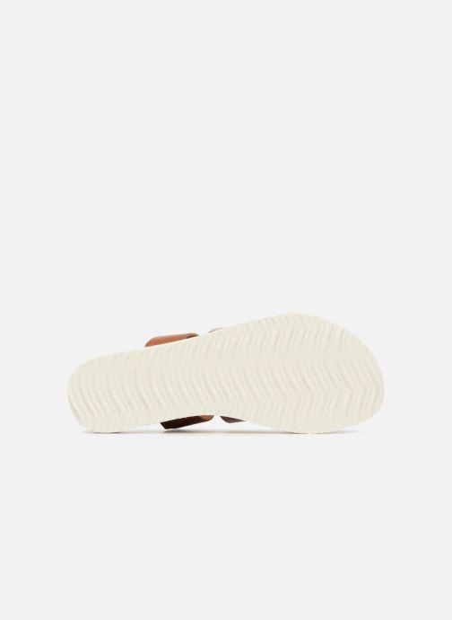 Zuecos Vero Moda Way Leather Sandal Marrón vista de arriba