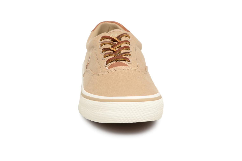 Baskets Polo Ralph Lauren Thorton Canvas Beige vue portées chaussures