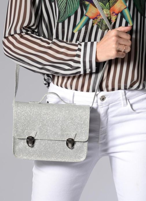Handbags MiniSéri CARTABLE MINI PAILLETTES Silver view from underneath / model view