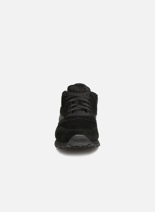 Sneaker Reebok CL LTHR schwarz schuhe getragen