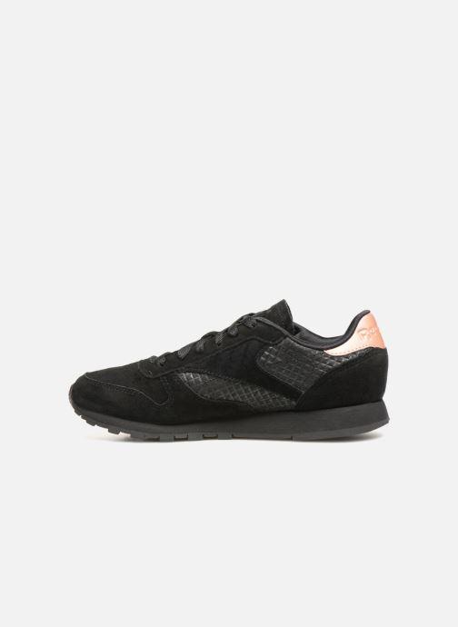 Sneaker Reebok CL LTHR schwarz ansicht von vorne