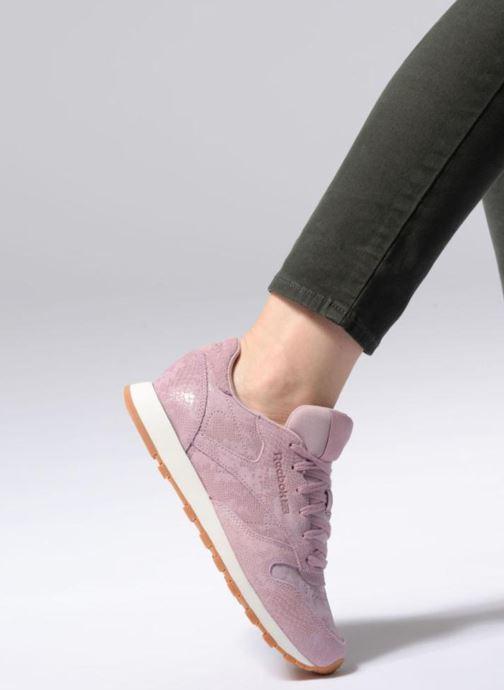 Sneaker Reebok CL LTHR lila ansicht von unten / tasche getragen