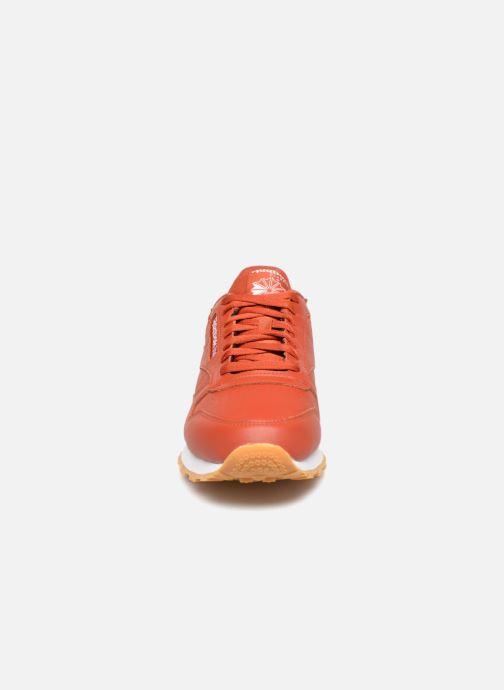 Sneaker Reebok CL LEATHER MU rot schuhe getragen