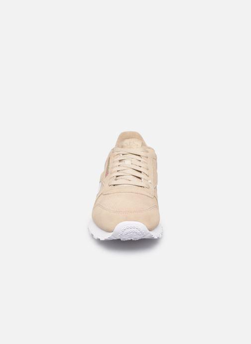 Sneaker Reebok CL LEATHER MU beige schuhe getragen