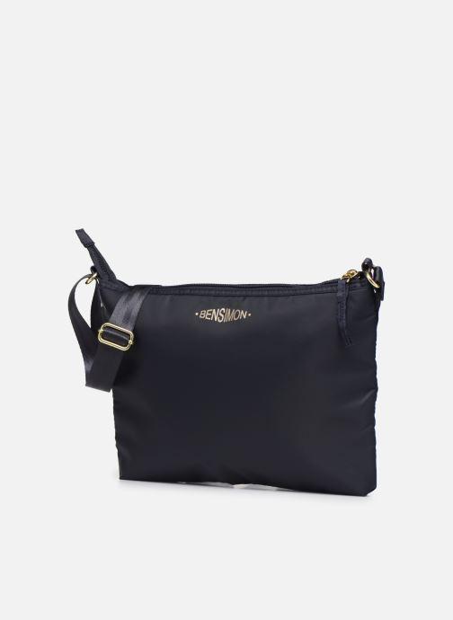 Handbags Bensimon MAT & SHINY LINE MINI BAG Blue model view