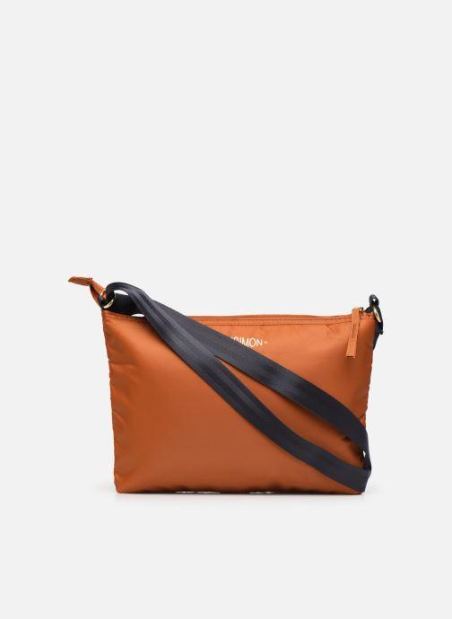 Handbags Bensimon MAT & SHINY LINE MINI BAG Brown front view