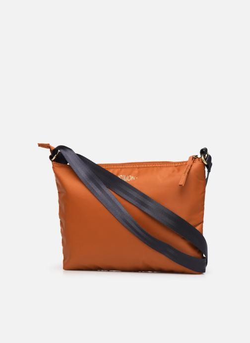 Handbags Bensimon MAT & SHINY LINE MINI BAG Brown view from the right