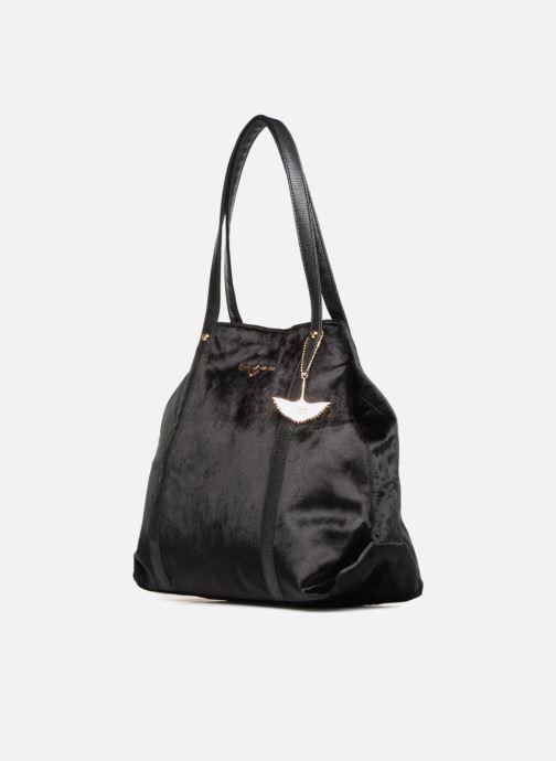 Sacs à main LPB Woman SHOPPER VELOURS Noir vue portées chaussures