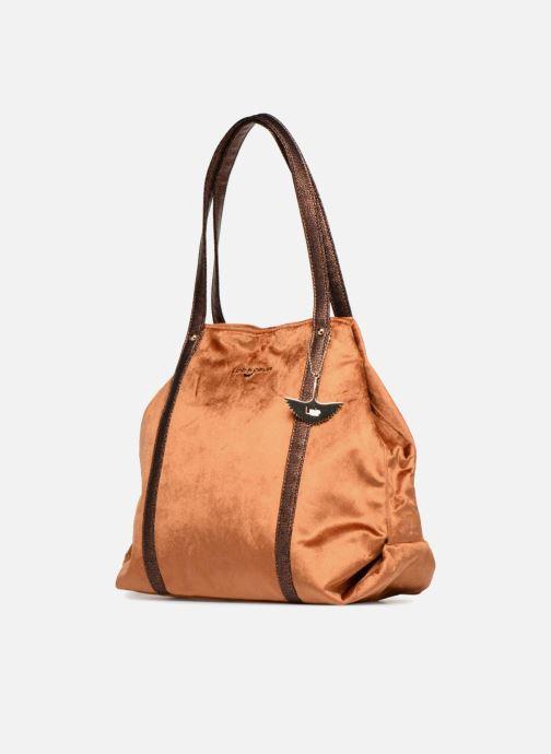 Handbags LPB Woman SHOPPER VELOURS Brown model view