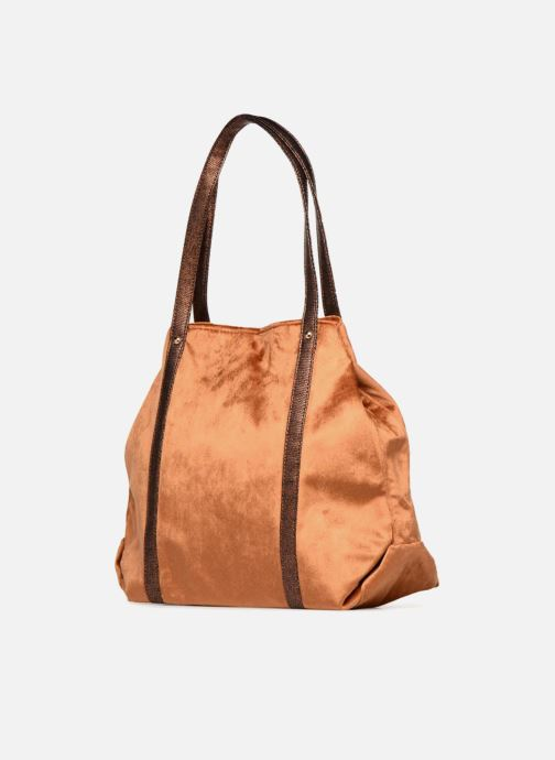 Handbags LPB Woman SHOPPER VELOURS Brown view from the right
