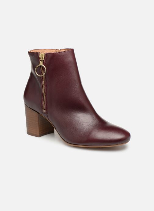 Ankle boots Bensimon Bottines Zippees Burgundy detailed view/ Pair view