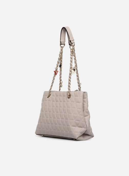 Handtassen Guess Fleur Girlfriend Satchel Beige rechts