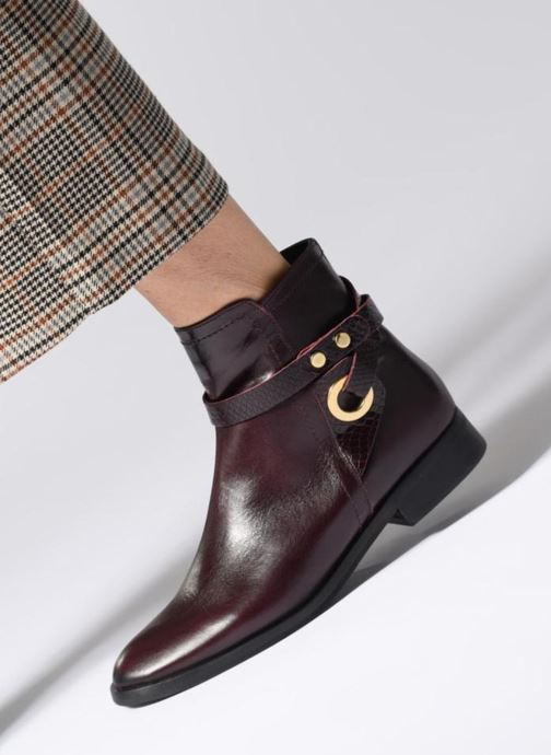 Bottines et boots Georgia Rose Louana Bordeaux vue bas / vue portée sac