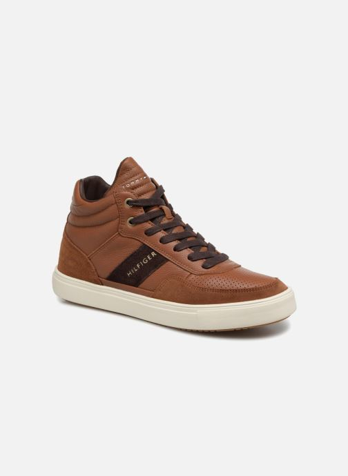 Baskets Tommy Hilfiger LIGHTWEIGHT MATERIAL MIX MID CUT Marron vue détail/paire