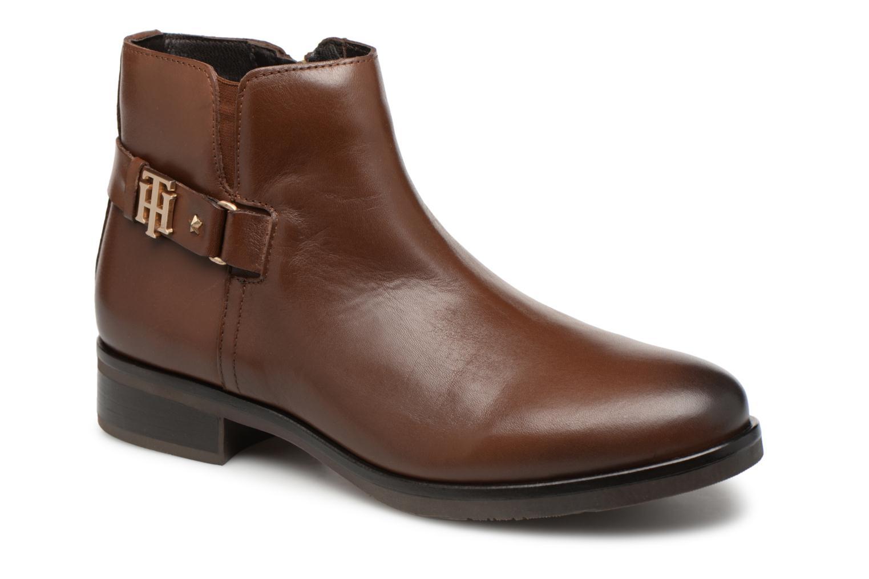 Bottines et boots Tommy Hilfiger TH BUCKLE LEATHER BOOTIE Marron vue détail/paire