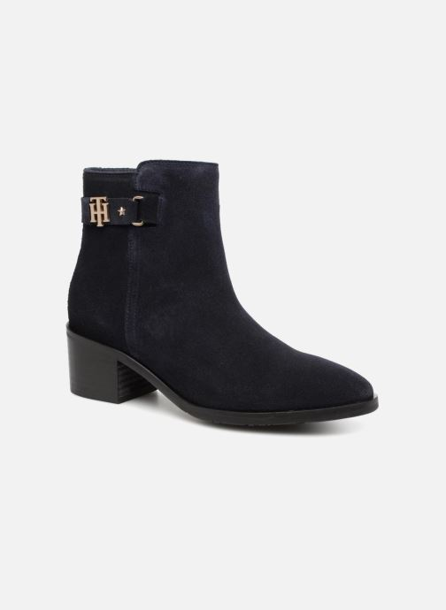 Bottines et boots Tommy Hilfiger TH BUCKLE MID HEEL BOOT SUEDE Bleu vue détail/paire
