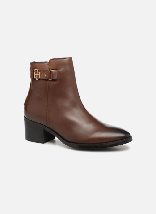 Bottines et boots Tommy Hilfiger TH BUCKLE MID HEEL BOOT LEATHER Marron vue détail/paire