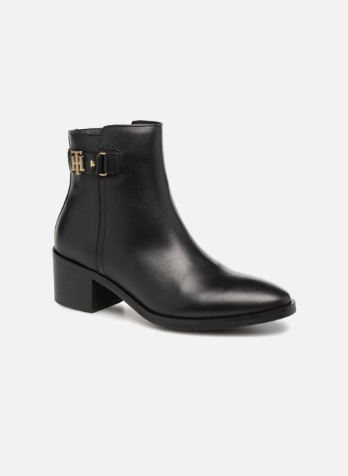 Bottines et boots Tommy Hilfiger TH BUCKLE MID HEEL BOOT LEATHER Noir vue détail/paire