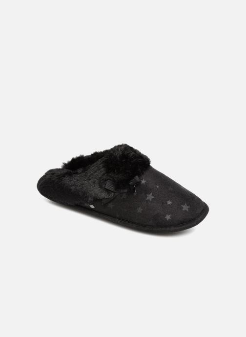 Chaussons Isotoner Mule platine suédine étoiles Noir vue détail/paire