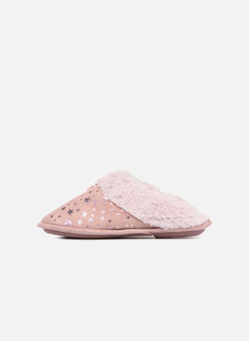 Pantoffels Isotoner Mule platine suédine étoiles Roze voorkant