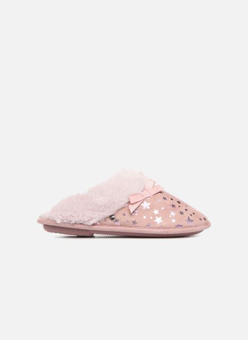Pantoffels Isotoner Mule platine suédine étoiles Roze achterkant