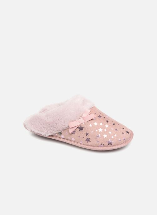 Pantoffels Isotoner Mule platine suédine étoiles Roze detail