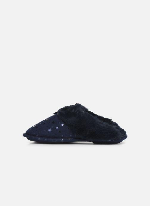 Chaussons Isotoner Mule platine suédine étoiles Bleu vue face