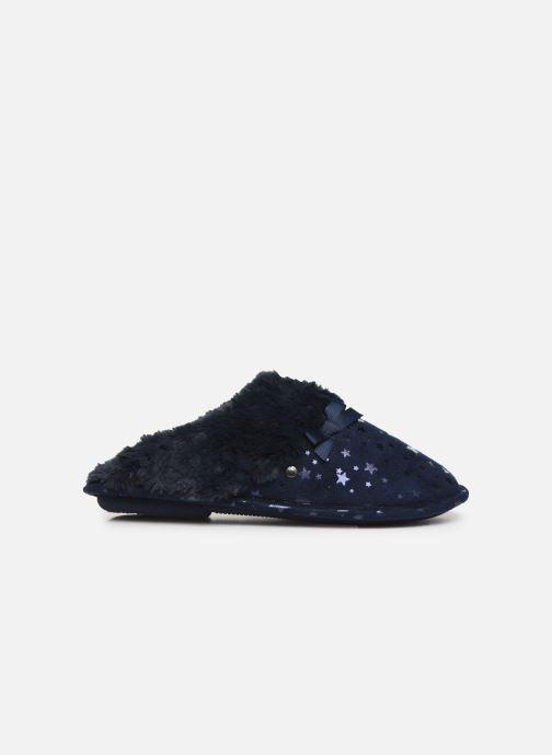 Chaussons Isotoner Mule platine suédine étoiles Bleu vue derrière