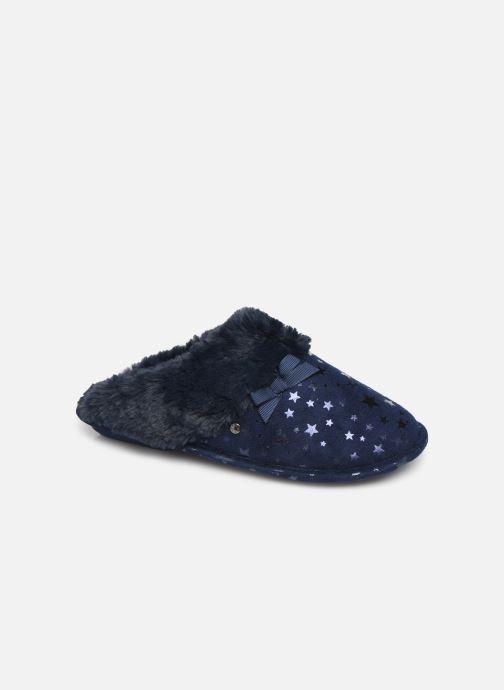 Chaussons Isotoner Mule platine suédine étoiles Bleu vue détail/paire