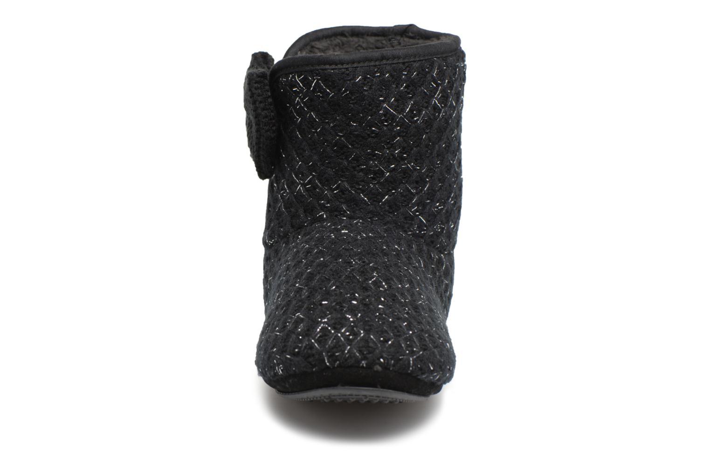 Chaussons Isotoner Botillon tricot lurex Noir vue portées chaussures