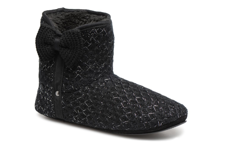Chaussons Isotoner Botillon tricot lurex Noir vue détail/paire