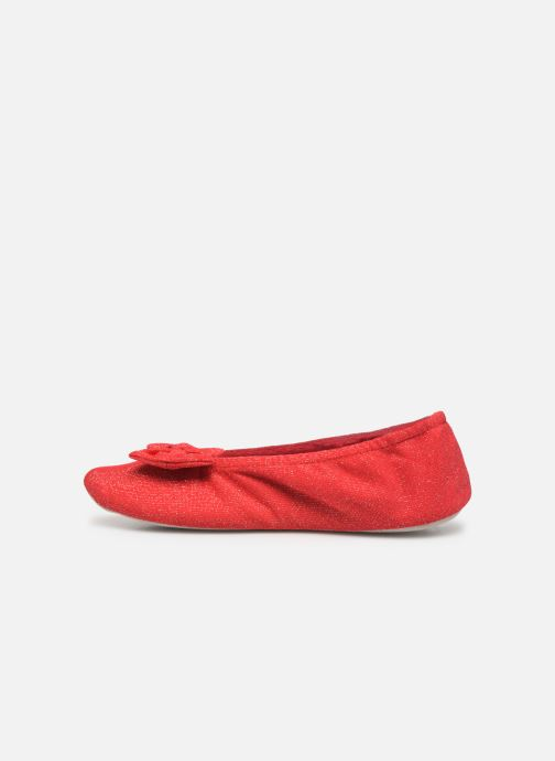 Chaussons Isotoner Ballerine lurex grand nœud Rouge vue face