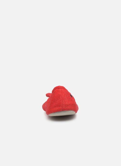 Chaussons Isotoner Ballerine lurex grand nœud Rouge vue droite
