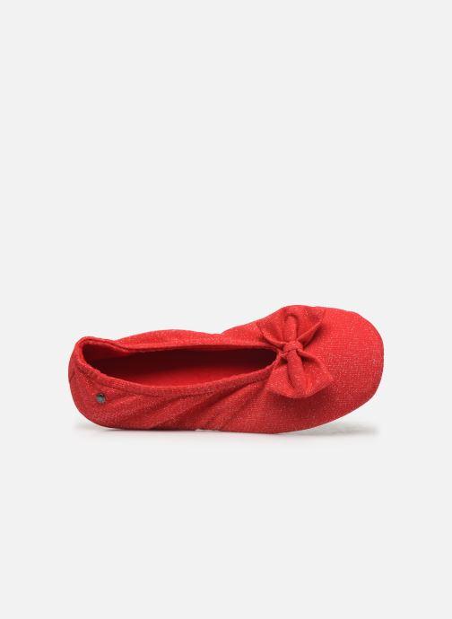 Chaussons Isotoner Ballerine lurex grand nœud Rouge vue gauche
