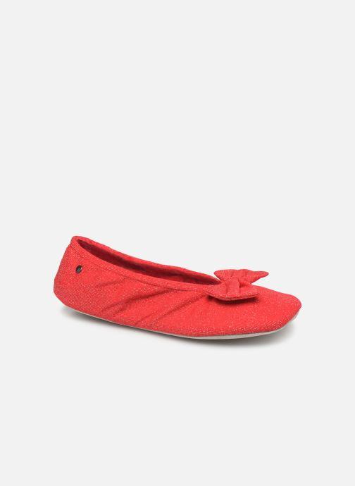 Chaussons Isotoner Ballerine lurex grand nœud Rouge vue détail/paire