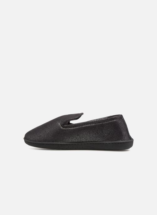 Slippers Isotoner Charentaise semelle ergonomqiue Black front view