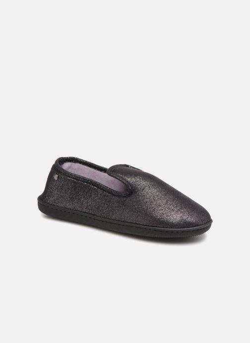 Hjemmesko Isotoner Charentaise semelle ergonomqiue Sort detaljeret billede af skoene