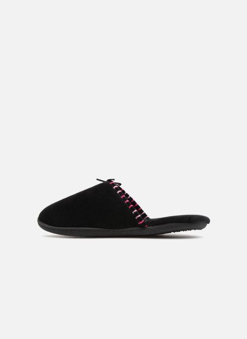 Slippers Isotoner Mule velours semelle ergonomique Black front view