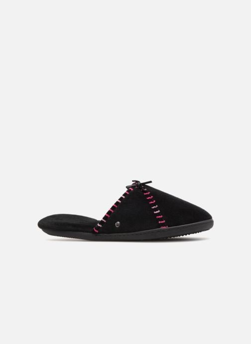 Slippers Isotoner Mule velours semelle ergonomique Black back view