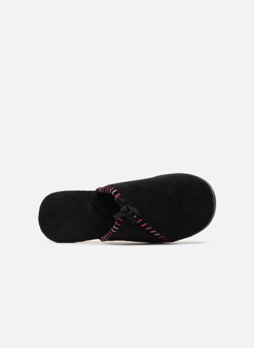 Slippers Isotoner Mule velours semelle ergonomique Black view from the left